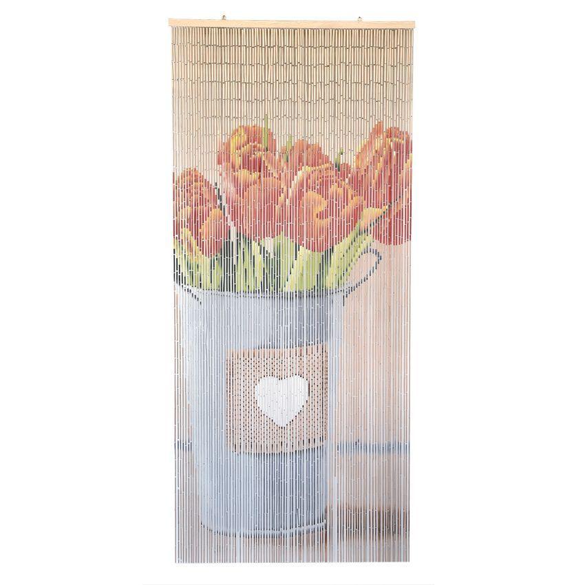 rideau de porte stick bambou tulipes orange rideau de porte eminza. Black Bedroom Furniture Sets. Home Design Ideas