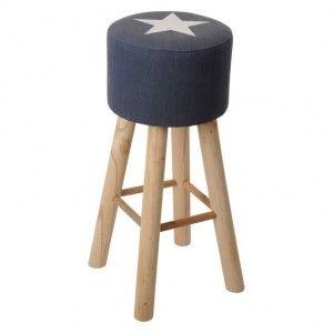 grand tabouret stars bleu jeans eminza. Black Bedroom Furniture Sets. Home Design Ideas
