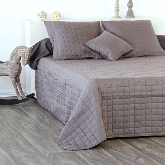 couvre lit matelass venus taupe eminza. Black Bedroom Furniture Sets. Home Design Ideas