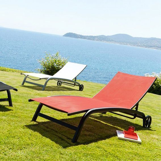 bain de soleil nagua texaline noir rouge transat chaise longue. Black Bedroom Furniture Sets. Home Design Ideas