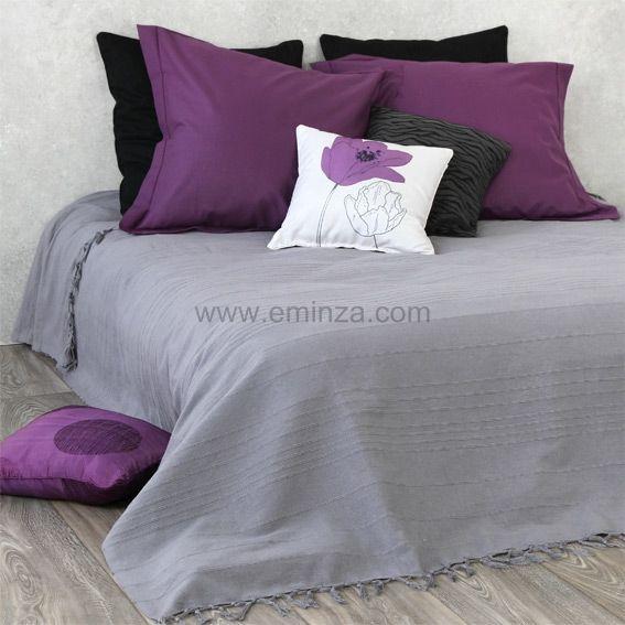couvre lit frang gris eminza. Black Bedroom Furniture Sets. Home Design Ideas