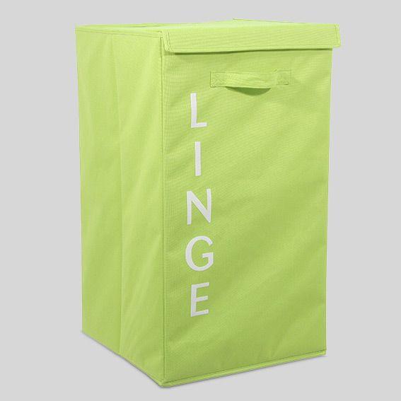 panier linge en tissu lettres vert eminza. Black Bedroom Furniture Sets. Home Design Ideas