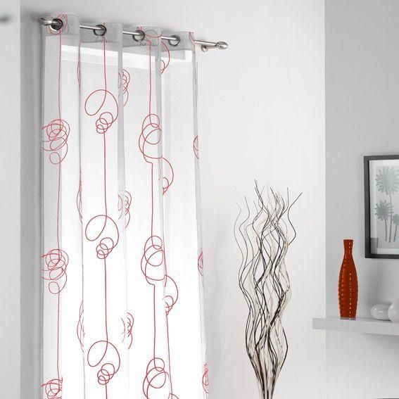 voilage oeillets looping blanc et rouge eminza. Black Bedroom Furniture Sets. Home Design Ideas