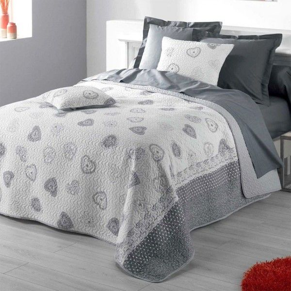 Style campagne chic eminza - Couvre lit gris clair ...