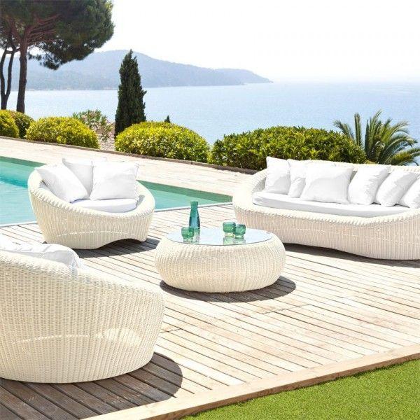 Salon de Jardin Java Ecru/Blanc - 5 places - Salon de jardin, table ...