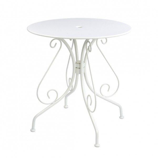 Table de jardin ronde Paris style fer forgé - Blanc - Table de ...